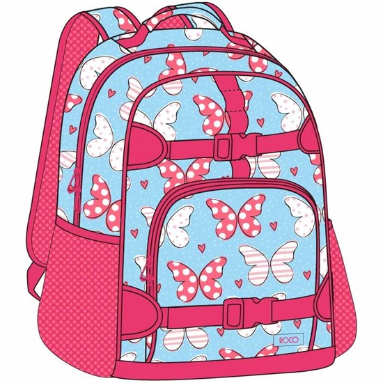 ROCO Backpack Kids Fash. Sky Bl 2 Zip. 17+P.Case