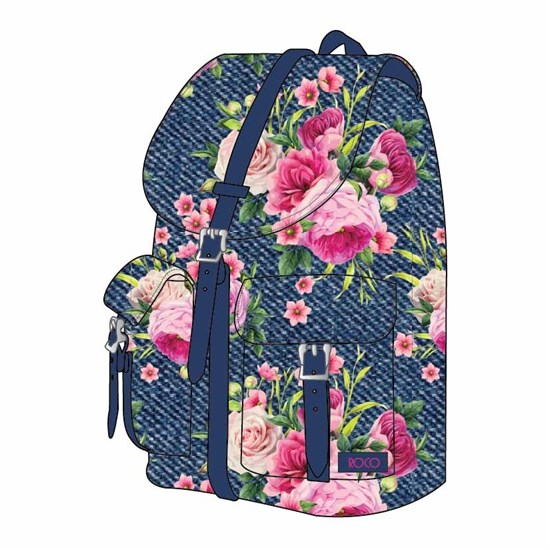 ROCO Backpack Floral D.Blue  1 Zip. 16+P.Case