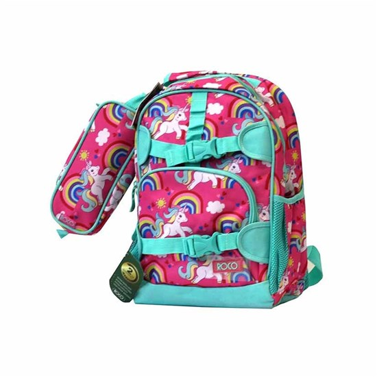ROCO Backpack Kids Fash. Fuchia 2 Zip. 15+P.Case