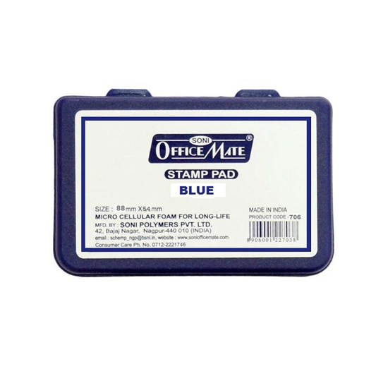 OFFICE MATE Stamp Pad Small 88 mm x 54 mm - Blue