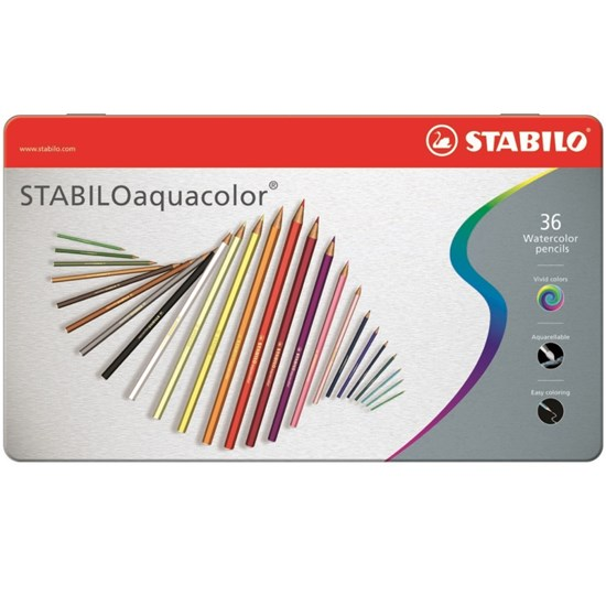 1636-5 Aquacolor Pencil 36 colors in metal box