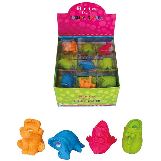BRIO FUN Eraser/Sharpener HYPO, 4 col in Disp