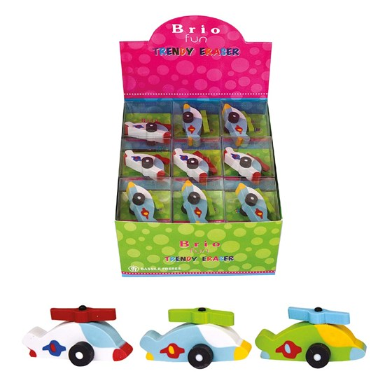 BRIO FUN Eraser HELICOPTER, 4 col in Disp