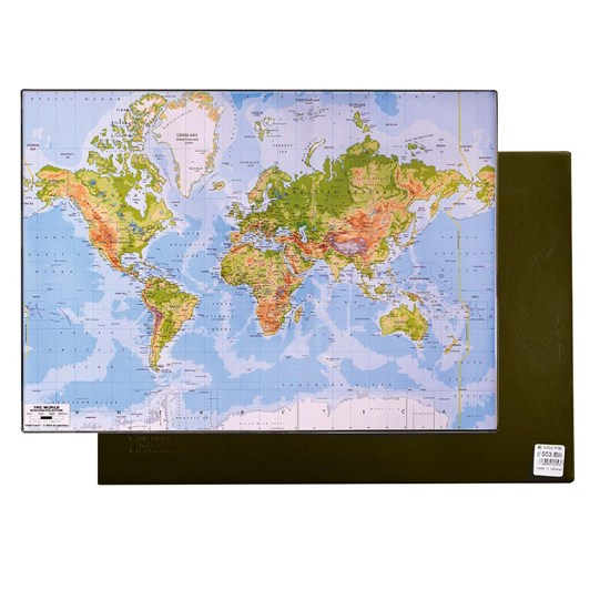 Desk Pad 35 x 50 cm PVC With World Map Brown