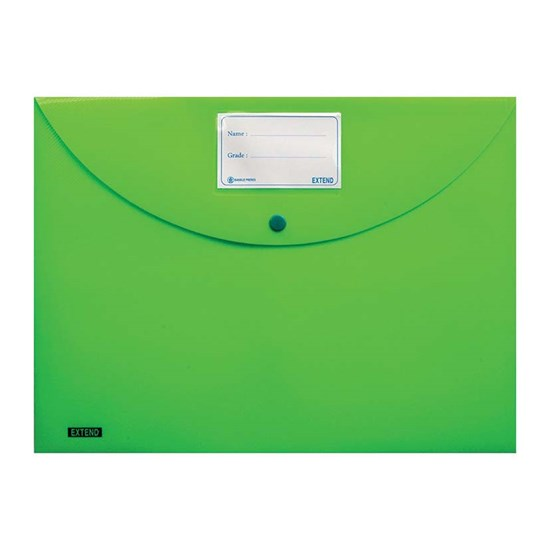 EXTEND Button file 300mic w/label, FC, Fluo-Green