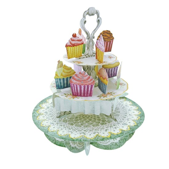 SANTORO 3D card-Pirouettes-Cup-Cake-Tea Time