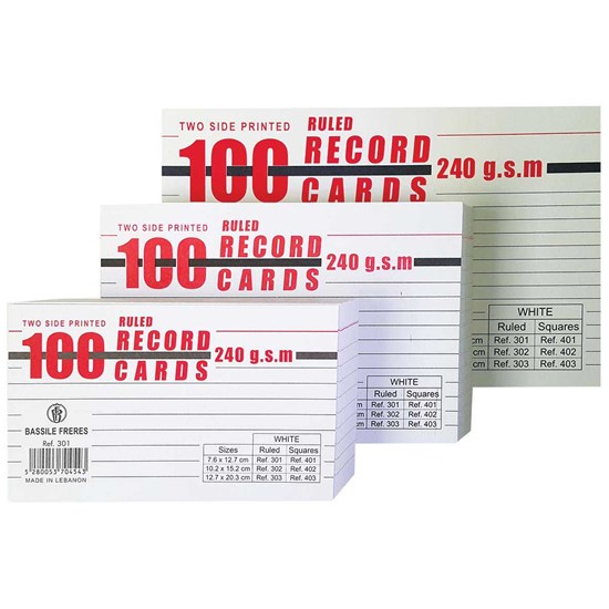 Record Cards Lines 240g- 100/pack- Small- White