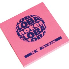 Global Notes 75gsm 100sh 75x75mm Fluo Pink