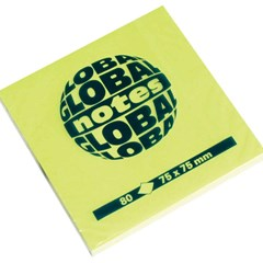 Global Notes 75gsm 100sh 75x75mm Fluo Green