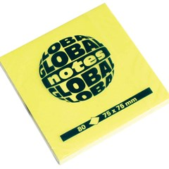 Global Notes 75gsm 100sh 75x75mm Fluo Yellow
