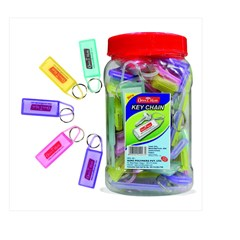 OFFICE MATE Key Chain 5 Colors Jar of 50 pcs