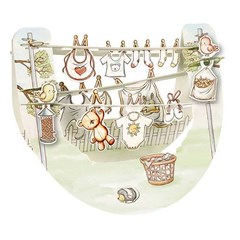 SANTORO 3D card Popnrock-New Baby Washing Line