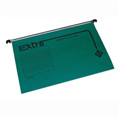 EXTRA Susp. file Kraft 210g w/Fasteners & Label,Gn