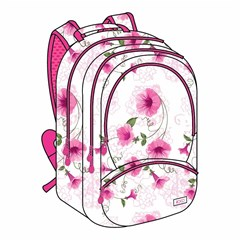 ROCO Backpack Floral White 3 Zip. 18+P.Case