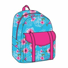 ROCO Backpack Floral Sky Blue 1 Zip. 17+P.Case