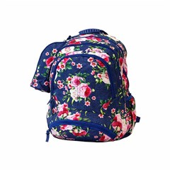 ROCO Backpack Floral D.Blue 3 Zip. 18+P.Case