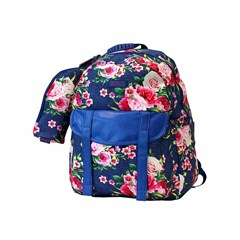 ROCO Backpack Floral D.Blue  1 Zip. 17+P.Case