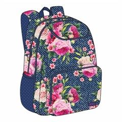 ROCO Backpack Floral D.Blue  3 Zip. 18 +P.Case