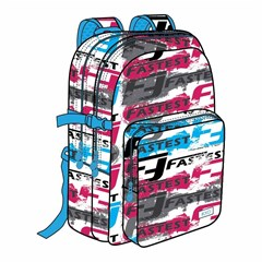 ROCO Backpack Wording White 3 Zip. 17 +P.Case