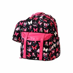 ROCO Backpack Butterfly Black 1 Zip. 17+P.Case