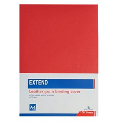 EXTEND leather grain bind. cov 100sh 230g A4 Red